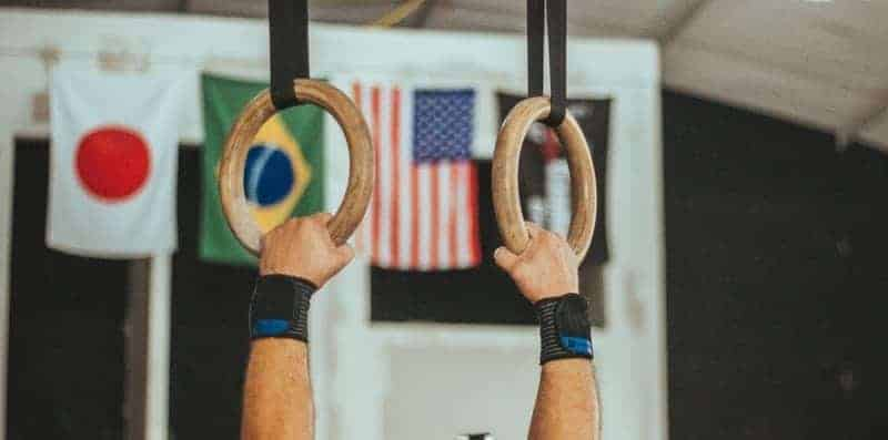 Gymnastics rings and flags