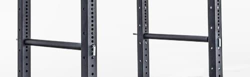 Squat rack hole spacing.